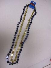 HOCKEY SPORT BEAD PUCK NECKLACE - BLUE & GOLD ST. LOUIS BLUES - MARDI GRAS STYLE