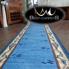 CHEMIN DE TABLE Tapis ,moderne bleu, anti-dérapant, Escaliers largeur 67cm-100cm