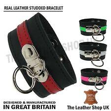 Neuf V_ritable Cuir R_glable Petit Anneau Punk Gothique Bracelet Made In UK