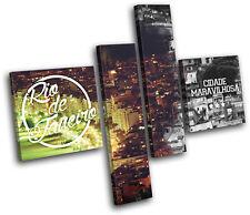 Rio De Janeiro Typography City MULTI DOEK WALL ART foto afdrukken