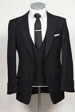 Men Black Suit Peak Lapel Groomsman Tuxedo Wedding Dinner Formal Suit Custom