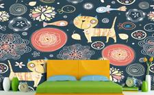3D Simple Cartoon Cat  Wall Paper Wall Print Decal Wall Deco Indoor wall Murals