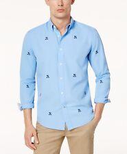 Tommy Hilfiger Hombre Azul Corte Clásico Bordado Escudo Camisa M XL 2XL