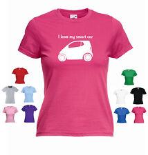 """""""Amo la mia smart auto"""" PURO Pulse Passion SMART Per Due Signore Divertente T-shirt Tee"""
