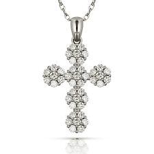 0.55CT Round Cut Lab Diamond Religious Cross Pendant & Necklace 14k White Gold