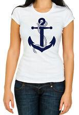 Gildan white Crew Neck Navyblue anchor Women Cotton