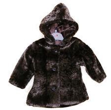 Bébé fille fourrure manteau d'hiver avec capuche marron foncé très doux et mignon