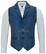 Chaleco para hombre Cuero Real Moda Casual de negocios Azul Napa de fiesta sin mangas 1349