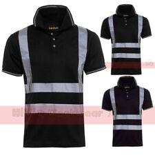Security Hi Viz Mens Polo Collar T-shirt Short Sleeve Work Safety High Vis Top