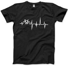 Bike Heartbeat - Cycle Biker Cycling Mens Unisex T-Shirt