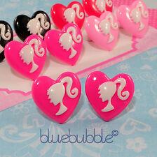 Funky Cameo Muñeca Cabeza pendientes del corazón lindo Candy Kitsch Kawaii Novedad Cool 80s