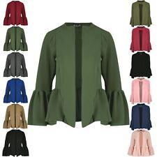 New Womens Ladies Bell Sleeve Open Front Collar Casual Coat Blazer Jacket