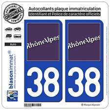 2 Stickers autocollant plaque immatriculation : 38 Rhone Alpes LogoType