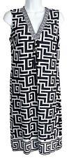 Jane Lamerton Women's Greek Isle Inspired Stretch V-Neck Casual Dress, Black, 12