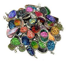 silver overlay pendants Wholesale lot Multi Titanium Druzy Gemstone 925 Sterling