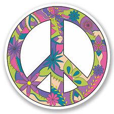 2 x 10cm Peace Symbol Vinyl Sticker iPad Laptop Helmet Car Flowery Hippy #5181