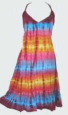 GRINGO Tie-Dye Rainbow Strappy Halterneck Dress Boho Festival Fair Trade