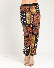 Fashion Women's Lady Brown Pebble Print palazzo Harem Pants Hip-Hop Trousers Hot