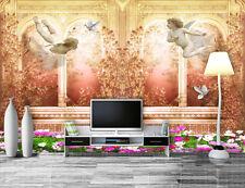 3D Kleine Engel, Blumen 343 Fototapeten Wandbild Fototapete BildTapete Familie