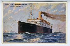 1920s Swedish Advertising Postcard Svenska Amerikalinjen Ship Drottningholm