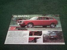 1977 1978 Subaru 4x4 STATION WAGON ANGLAIS 10/77 brochure