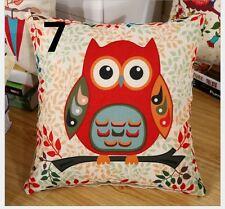 Owl Vintage Linen Cotton Cushion Cover  Pillow Case 45x45cm Home Decor