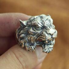 High Details Tiger Ring 925 Sterling Silver Mens Biker Punk Ring TA130 UK N½~Z4
