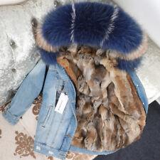 2018 Women Big Fox/Raccoon Fur Hooded Denim Coat Rabbit Lined Short Jacket Parka