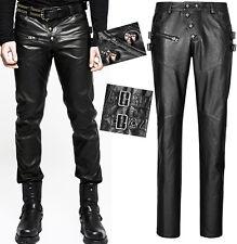 Pantalon gothique punk fashion cuir boutons crânes tête de mort sangles Punkrave
