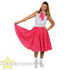 LONG PINK POLKA DOT SKIRT FANCY DRESS ROCK N ROL 1960S STANDARD + PLUS SIZE