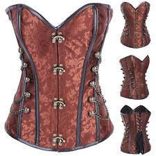 US Women Gothic Steampunk Steel Boned Overbust Waist Trainer Cincher Corset Vest