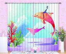 3D Delfin Muster 63 Blockade Foto Vorhang Druckvorhang Vorhänge Stoff Fenster DE