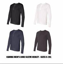 Bella + Canvas - Henley, Men's Long Sleeve, Cotton Jersey, S-2XL T-Shirt, 3150