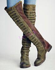 Retro Roman Womens Suede Shoes Cuban Heels Zip Knight Knee High Boots Fashion sz