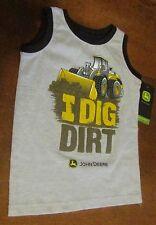 John Deere boys gray A-shirt, black trim, sleeveless 'I DIG DIRT', dozer, emblem