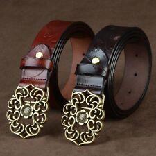 Women Belt Waistband Carved Buckle Strap Retro Genuine Leather Western Cowgirl