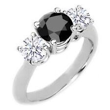 Diamant Dreier Ring schwarz/weiß 0.75 Karat, 750/18K Weißgold