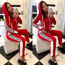 Fashion Hooded Letter Print Suit Hoddie Tops Pants Tracksuit Sportswear Woman