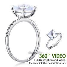 14K White Gold Wedding Engagement Ring 2.5 Ct Topaz 0.12 Ct Natural Diamond