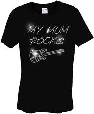 infantil Mi mamá ROCKS Guitarra Diseño Camisa de pedrería (Cualquier Talla)