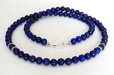 "Clasp Custom Length 18"" - 30"" Sale Men's Lapis Lazuli Bead Necklace 6mm Silver"