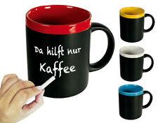 Schwarzer Keramik-Becher Kreide Tasse Tee Kaffeebecher Tafel Notiz Memo Spruch