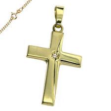 Anhänger Kreuz mit 1 Zirkonia 333 Gold Kreuz 17x27 mm poliert Neu
