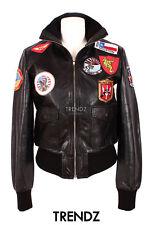 Ladies TOP GUN BLACK Aviator Style Short Real Lambskin Leather Designer Jacket
