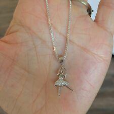 Sterling Silver CZ Ballerina Necklace, Silver Necklace, Dance Necklace
