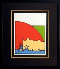 """Peter Max """"Sage on Cliff"""" Signed Ltd Ed Vintage Serigraph Custom Frame MAKEOFFER"""