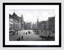 Saint mary's square munich allemagne 1900 bw encadrée art print mount B12X359