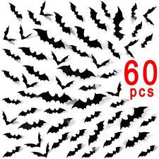 12/60Pcs 3D Bat Wall Sticker Scary Halloween Home Decoration Window Decals