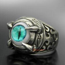 Men's Stainless Steel Dragon Skull Claw Turquoise Green Cat Eye Biker Ring