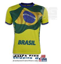 Brazil Tee Jersey Cool Max Polyester Ordem e Progresso T-Shirts NEW